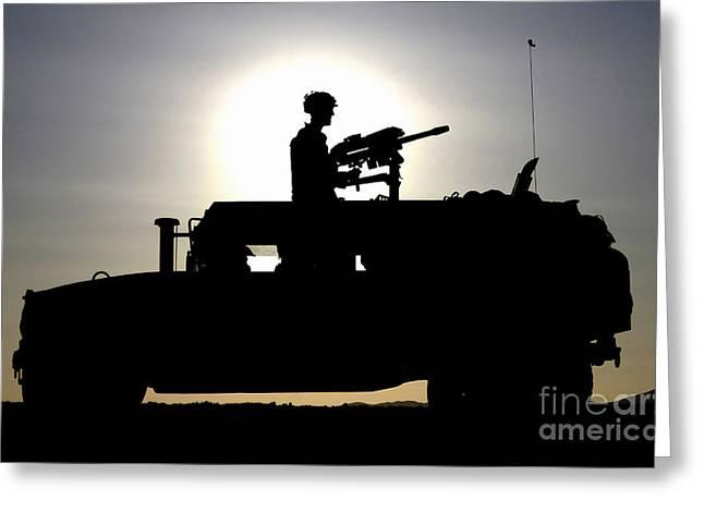40mm Greeting Cards - A Gunner Mans An Mk-19 40mm Machine Gun Greeting Card by Stocktrek Images