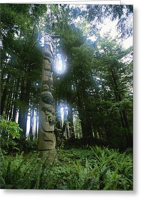A Haida Totem Pole In Tongass National Greeting Card by Rich Reid