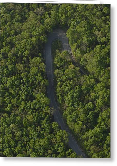 Mountain Road Greeting Cards - A Hairpin Curve On The Cumberland Greeting Card by Stephen Alvarez