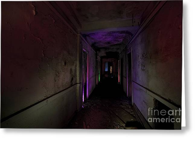 Ghostly Greeting Cards - A Hallway to Nowhere Greeting Card by Keith Kapple