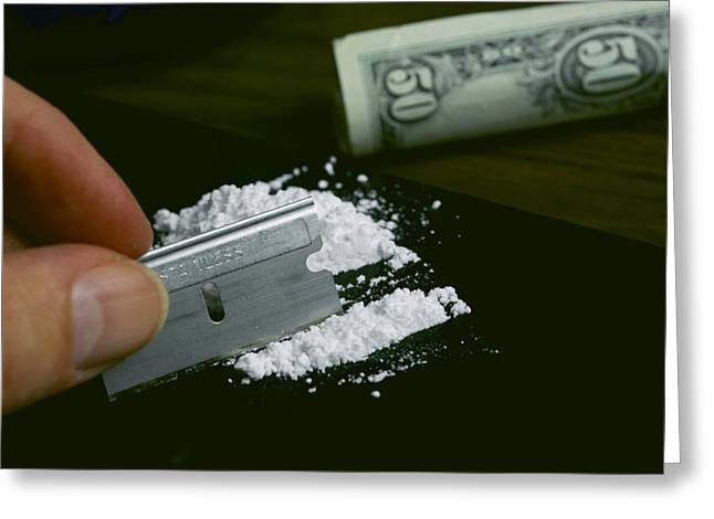 Stainless Steel Greeting Cards - A Hand Dividing Up A Pile Of Cocaine Greeting Card by Todd Gipstein