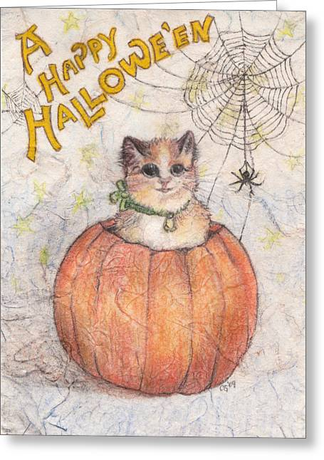 Cards Vintage Mixed Media Greeting Cards - A Happy Halloween Greeting Card by Carrie Jackson