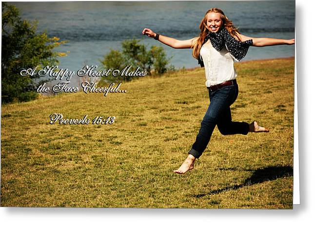 Floating Girl Greeting Cards - A Happy Heart Greeting Card by Charles Benavidez