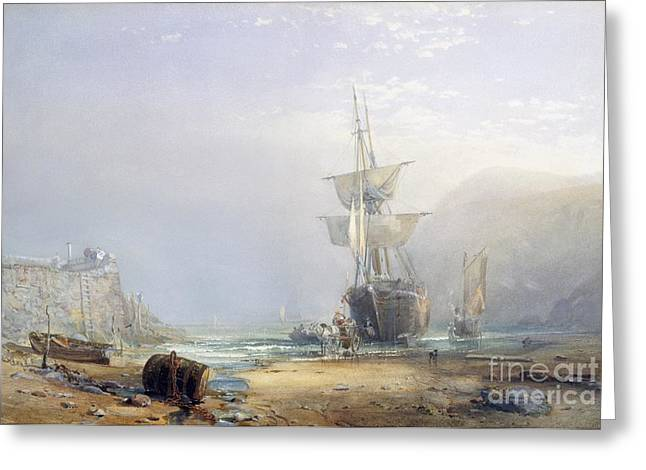 Low Wall Greeting Cards - A Hazy Morning on the Coast of Devon Greeting Card by Samuel Phillips Jackson
