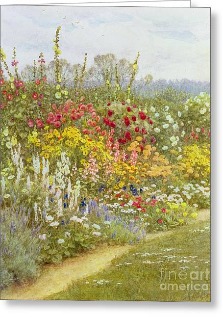 Hollyhocks Greeting Cards - A Herbaceous Border Greeting Card by Helen Allingham