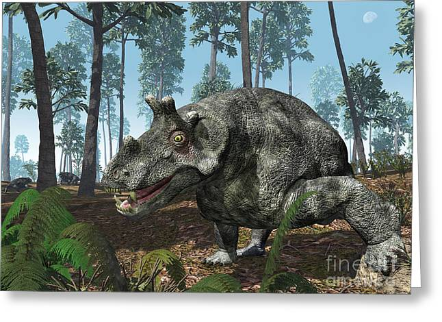 Primeval Greeting Cards - A Herbivorous Dinocephalian Therapsid Greeting Card by Walter Myers