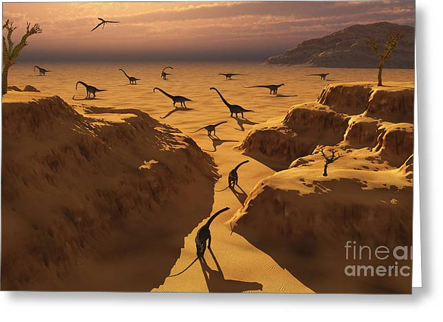 The Plateaus Digital Greeting Cards - A Herd Of Omeisaurus Dinosaurs Migrate Greeting Card by Mark Stevenson