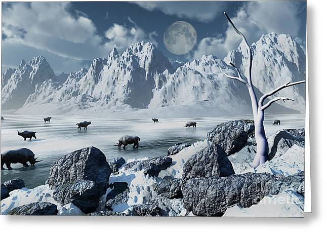 Grazing Snow Greeting Cards - A Herd Of Woolly Rhinoceros In A Severe Greeting Card by Mark Stevenson