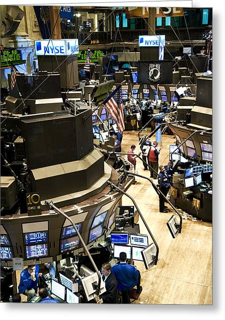 Stock Trading Greeting Cards - A High Angle View Of The New York Stock Greeting Card by Justin Guariglia