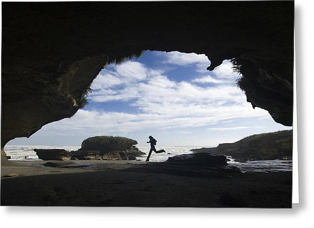 By Humans Greeting Cards - A Hiker Explores Interesting Rock Greeting Card by Bill Hatcher