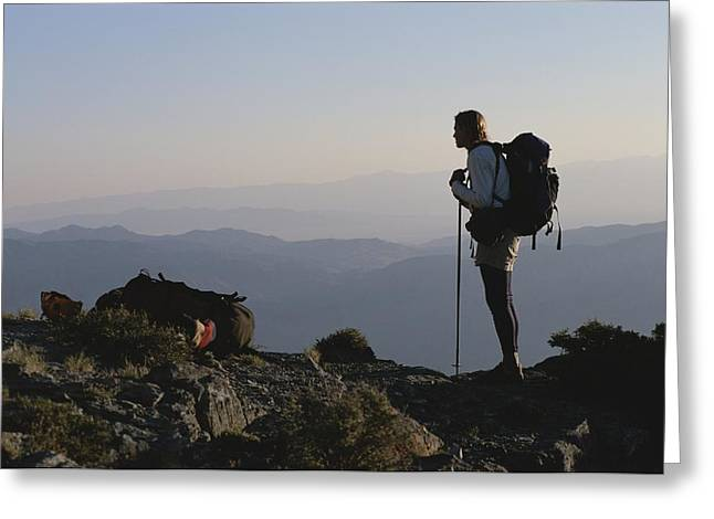 Knapsack Greeting Cards - A Hiker On Wheeler Peak, Great Basin Greeting Card by Bill Hatcher