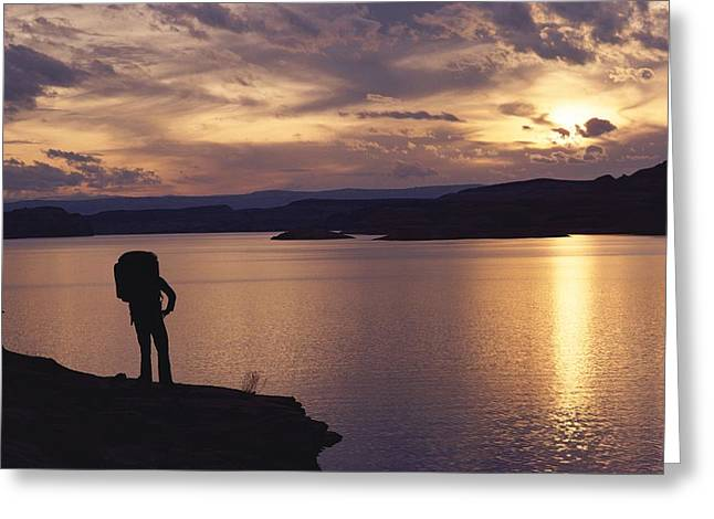 Model Colorado Greeting Cards - A Hiker Pauses For Reflection Alongside Greeting Card by Gordon Wiltsie