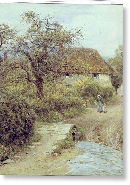 Country Cottage Greeting Cards - A Hill Farm Symondsbury Dorset Greeting Card by Helen Allingham