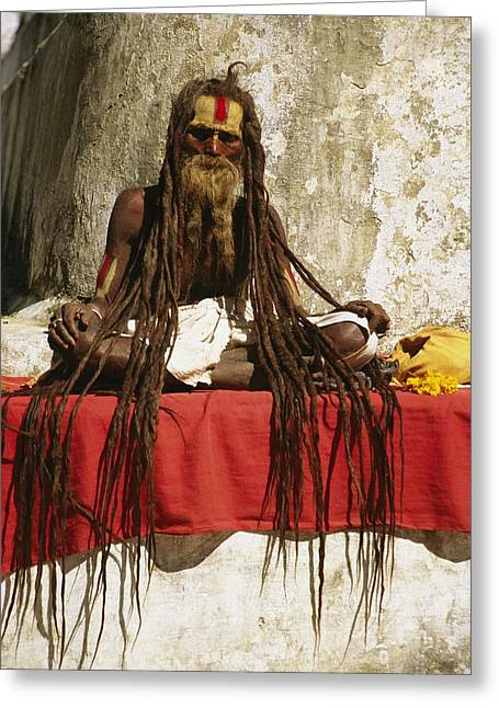 Hair Dye Greeting Cards - A Hindu Holy Man With Streaming Greeting Card by Michael Melford