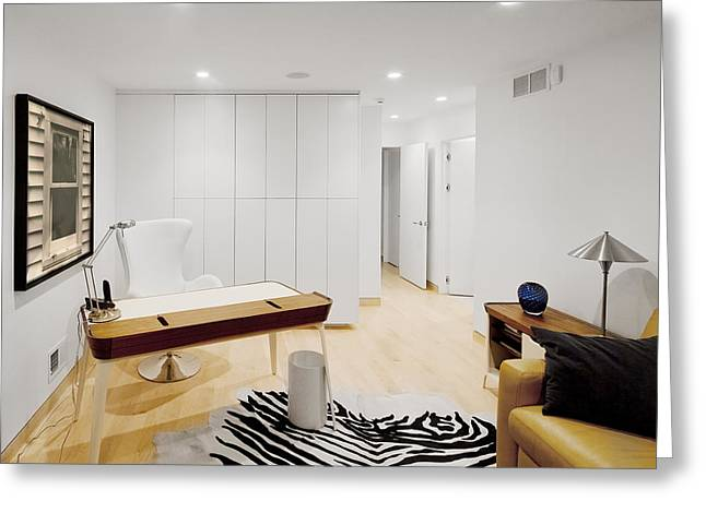 Prints Of Zebras Greeting Cards - A Home Office. A Black And White Zebra Greeting Card by Christian Scully