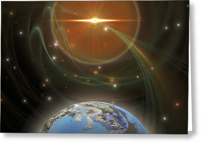 Center Part Greeting Cards - A Huge Sun Emits Solar Flares Greeting Card by Corey Ford