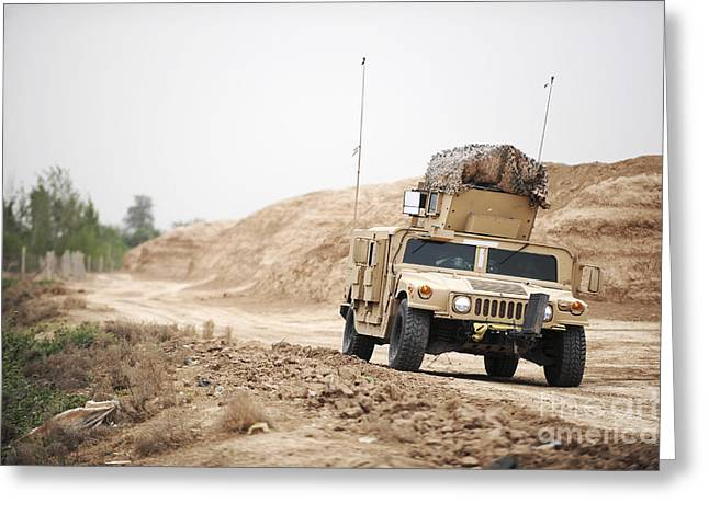 A Humvee Conducts Security Greeting Card by Stocktrek Images