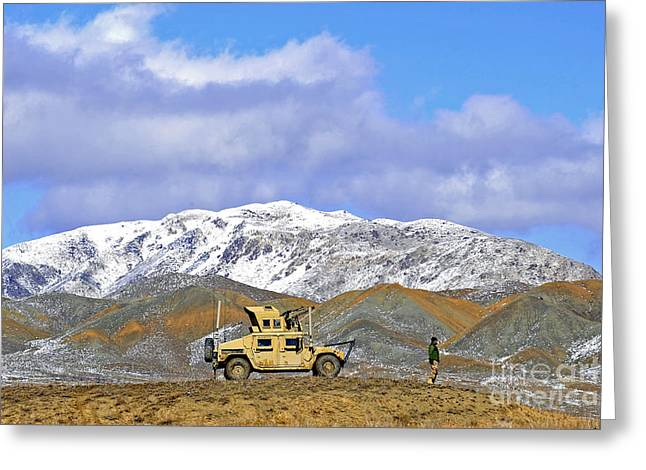 Zabul Greeting Cards - A Humvee Provides Security Greeting Card by Stocktrek Images