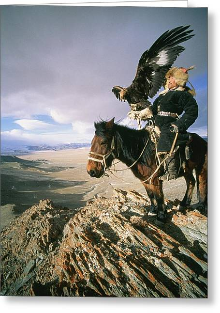 National Peoples Greeting Cards - A Hunter On Horseback Atop A Hill Greeting Card by David Edwards