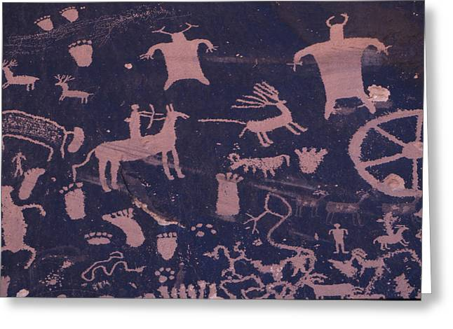 Newspaper Rock Sandstone Greeting Cards - A Hunting Scene Is One Of Many Pecked Greeting Card by Bill Hatcher