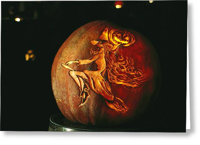 A Jack-o-lantern With An Ornate Carved Greeting Card by Richard Nowitz