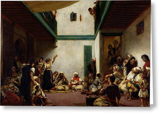 Jewish Greeting Cards - A Jewish wedding in Morocco Greeting Card by Ferdinand Victor Eugene Delacroix