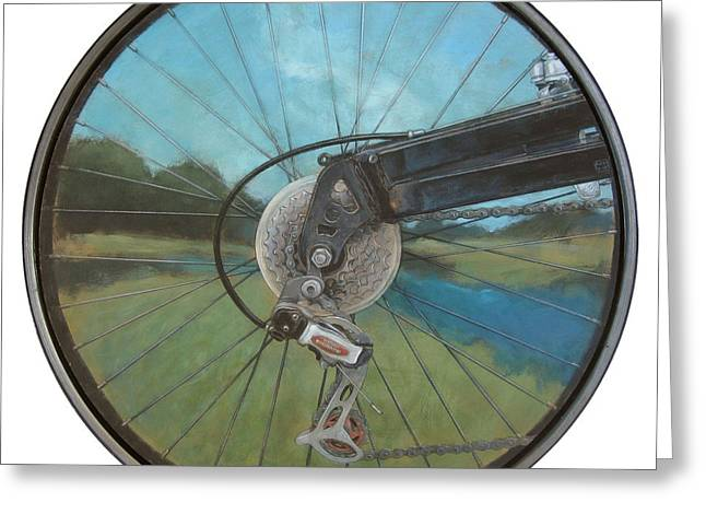 Spokes Paintings Greeting Cards - A Journey Greeting Card by Mary Brooking