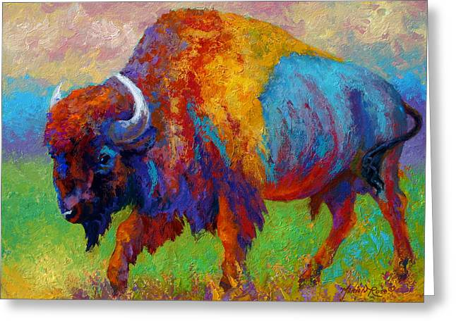 Bulls Greeting Cards - A Journey Still Unknown - Bison Greeting Card by Marion Rose