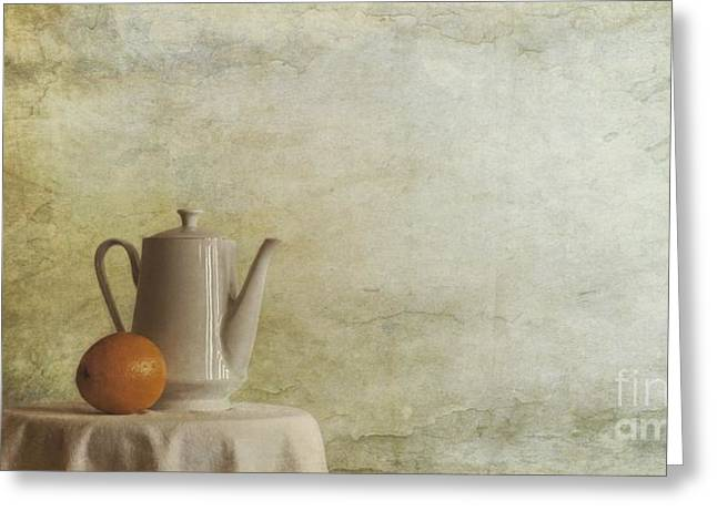 Snacking Greeting Cards - A Jugful Tea And A Orange Greeting Card by Priska Wettstein