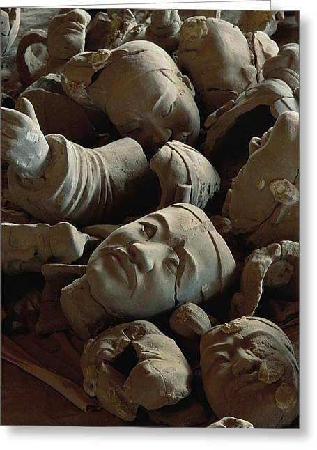 Qin Greeting Cards - A Jumbled Heap Of Terra-cotta Heads Greeting Card by O. Louis Mazzatenta