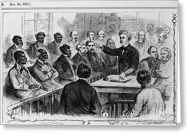 Abolition Greeting Cards - A Jury Of Whites And Blacks Greeting Card by Photo Researchers