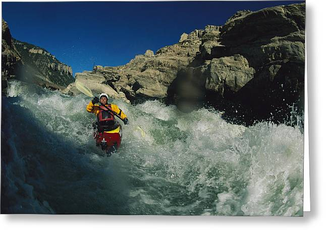 Model Released Photography Greeting Cards - A Kayaker On The Iron Curtain Class 5 Greeting Card by Bobby Model