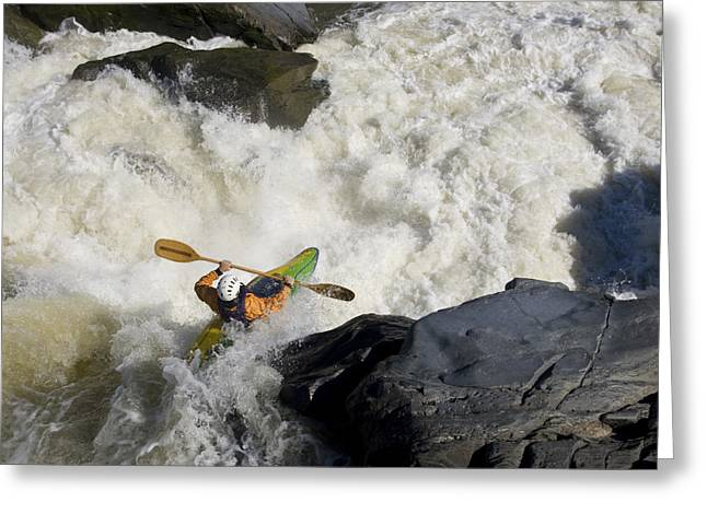 A Kayaker Paddles Off A Waterfall Greeting Card by Skip Brown