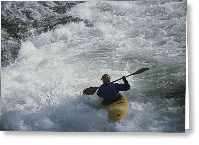 Bridger Teton Greeting Cards - A Kayaker Paddles Through White-water Greeting Card by Raymond Gehman