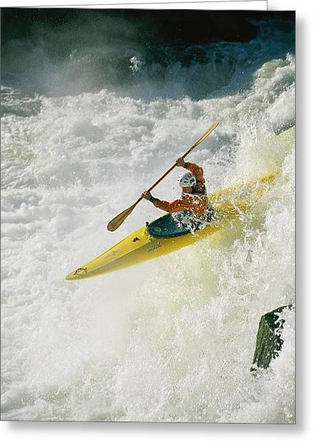 Model Release Greeting Cards - A Kayaker Speeds Down One Of The Falls Greeting Card by Skip Brown