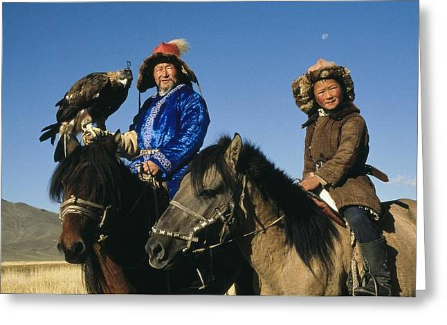 National Peoples Greeting Cards - A Kazakh Falconer And His Son On A Hunt Greeting Card by David Edwards
