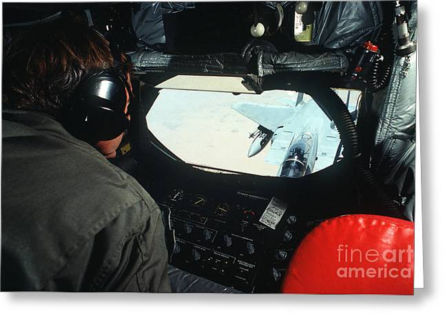 A Kc-135 Boom Operator Watches An F-15 Greeting Card by Stocktrek Images