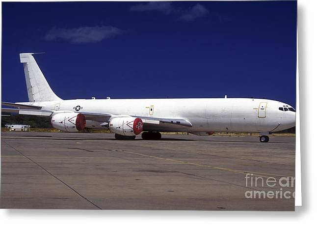 Hickam Greeting Cards - A Kc-135 Stratotanker At Hickham Air Greeting Card by Michael Wood