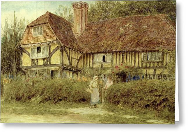 Chimneys. Flowers Greeting Cards - A Kentish Cottage Greeting Card by Helen Allingham