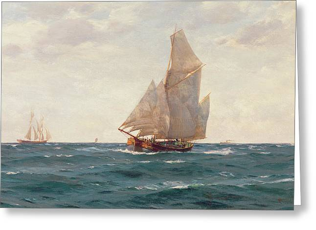 Sailing Ship Greeting Cards - A Ketch and a Brigantine off the Coast Greeting Card by Thomas J Somerscales