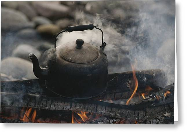Coffeepot Greeting Cards - A Kettle Of Water Comes To A Boil Greeting Card by Raymond Gehman