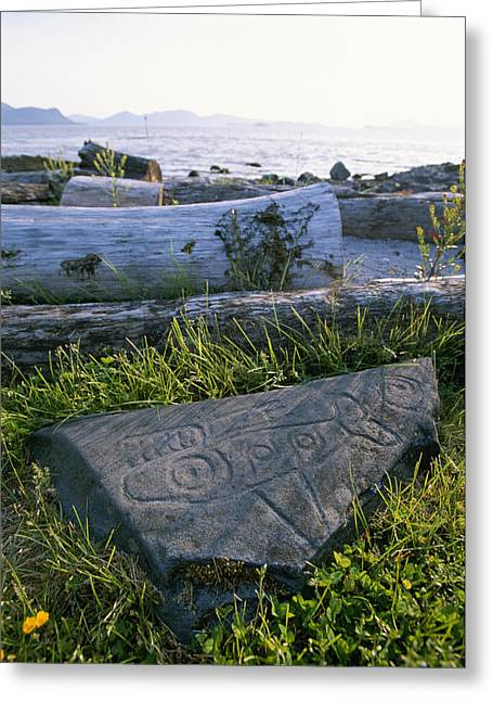 Wooden Sculpture Greeting Cards - A Killer Whale Petroglyph On The Beach Greeting Card by Rich Reid