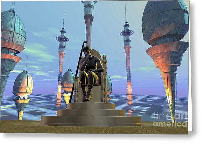 One Person Digital Greeting Cards - A King Sits On His Throne Greeting Card by Corey Ford
