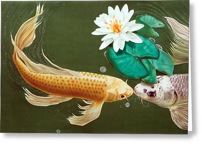 Water Lilly Greeting Cards - A Kiss Is Just A Kiss Greeting Card by Dan Menta
