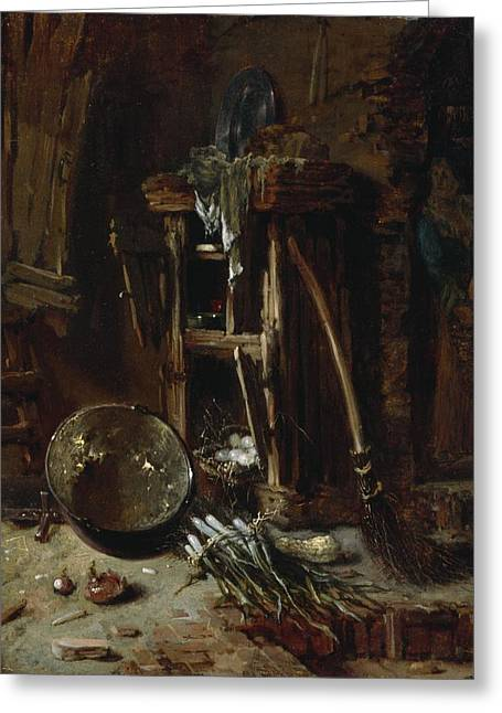 Saucepan Greeting Cards - A Kitchen Corner Greeting Card by Willem Kalf