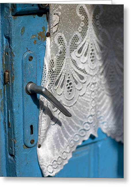 White Curtain Greeting Cards - A Lace Curtain And A Blue Door Greeting Card by David Evans