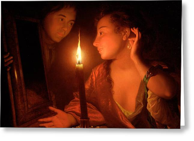 Mirror Reflection Greeting Cards - A Lady Admiring An Earring by Candlelight Greeting Card by Godfried Schalcken