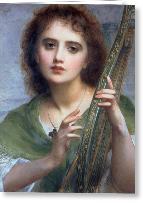Lyre Paintings Greeting Cards - A Lady with Lyre Greeting Card by Charles Edward Halle