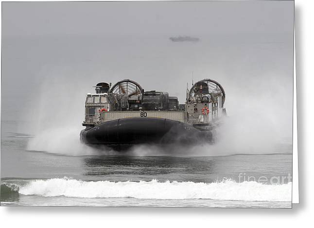 Landing Craft Greeting Cards - A Landing Craft Air Cushion Comes Greeting Card by Stocktrek Images