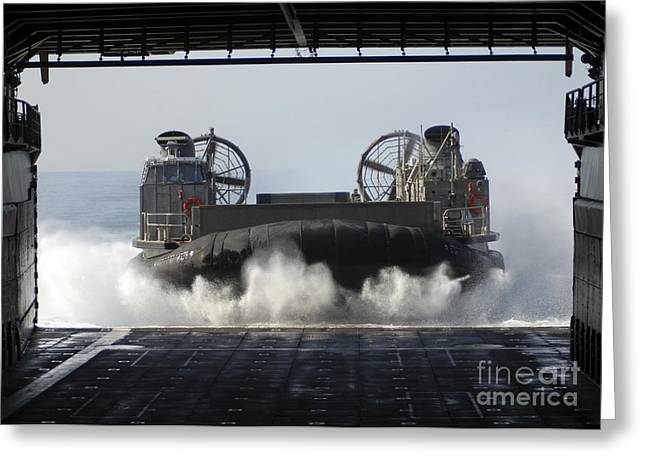 Harpers Ferry Greeting Cards - A Landing Craft Air Cushion Enters Greeting Card by Stocktrek Images